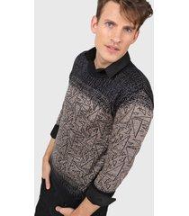 sweater negro moni tricot cullo redondo jaspeado