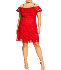 city chic dream of lace cold shoulder dress, size medium in scarlet at nordstrom