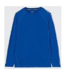 camiseta esportiva manga longa com refletivos   get over   azul   g