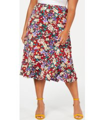 ny collection plus size printed diagonal tiered skirt