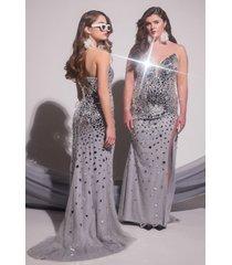 akira black label hand sewn mirror maxi gown