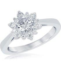 1.00 ct halo diamond snowflake shaped bridal engagement ring 14k white gold fn