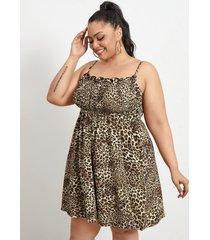 plus tamaño leopardo correa de espagueti fruncido sin mangas mini vestido
