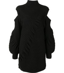alexis panelled-knit cut-out knitted dress - black