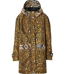 burberry animal print hooded coat - yellow