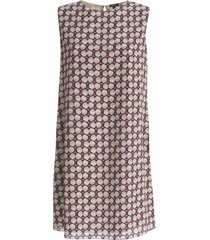 aspesi silk printed a line sleeveless dress