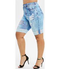 plus size 3d jean print short leggings