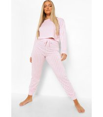 gestreepte pyjama set met crop top en joggingbroek, pink
