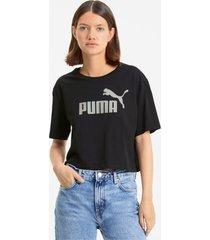essentials+ metallic cropped t-shirt voor dames, zilver/zwart, maat xl | puma