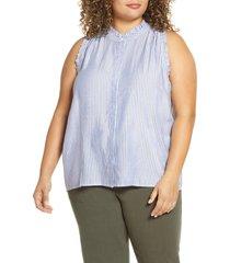 plus size women's gibson x international women's day living in yellow ruffle trim front button sleeveless top