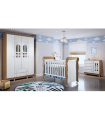 dormitório selena guarda roupa 4 portas/cômoda/berço mini cama mirelle amadeirado carolina baby
