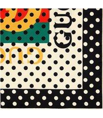gucci vintage logo polka dot scarf - white