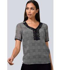 blouse alba moda grijs::wit