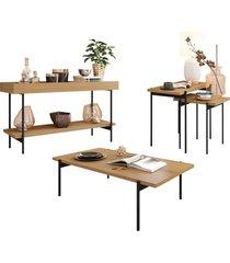 conjunto aparador mesa de centro e mesas laterais estilo industrial mezzan h01 freijã³ - mpozenato - unico - dafiti