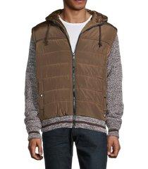 american stitch men's mixed-media puffer jacket - blue - size xxl