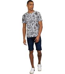 camiseta masculina floral cinza - cinza - masculino - dafiti