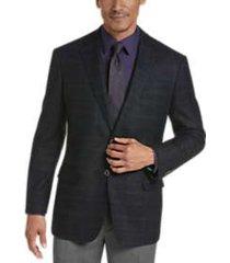 joseph abboud teal plaid modern fit sport coat