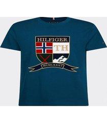 camiseta cuello redondo escudo azul petroleo tommy hilfiger