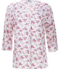 blusa estampada con quiebre color blanco, talla l
