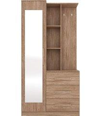 armário multiuso cômoda 1 porta brisa nogal demóbile