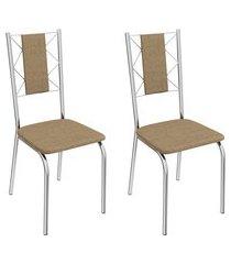 conjunto 2 cadeiras crome 2c076 lisboa metal