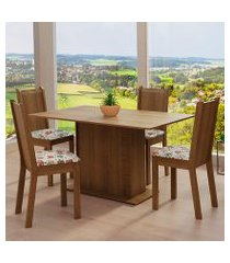 conjunto sala de jantar madesa luana mesa tampo de madeira com 4 cadeiras rustic/floral hibiscos cor:rustic/floral hibiscos