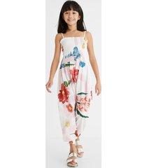 long cotton jumpsuit logo flowers - white - 13/14