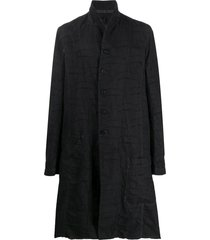 masnada distressed effect cotton linen coat - black