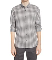 men's nordstrom trim fit gingham linen & cotton button-down shirt, size x-large - grey