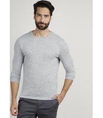suéter masculino slim em tricô gola careca cinza mescla claro
