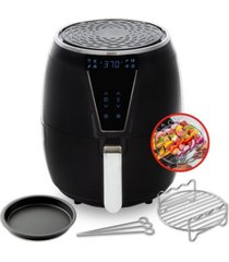 aria 5qt teflon-free ceramic air fryer with 2-tier stainless steel rack, baking pan, skewers and recipe cookbook