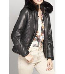 chaqueta mujer capucha ecocuero negro elemental liola