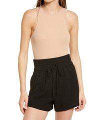 women's open edit crewneck rib bodysuit, size xx-small - brown