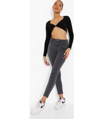 basic stretch skinny jeans met split, light grey