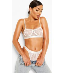 spot mesh and lace bralette and thong set, white
