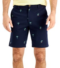 """club room men's 9"""" stretch palm tree print shorts, created for macy's"""
