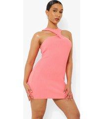 gebreide mini jurk met halter neck, coral