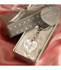 chrome key chain with crystal heart wedding favors, 1