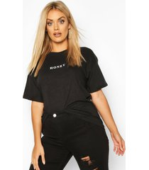 plus honey micro slogan t-shirt, black