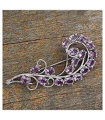 amethyst brooch pin, 'purple paisley' (india)