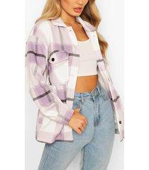 monochrome geruite trucker jas, lila