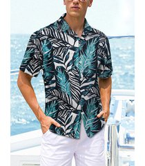 hombres verano tropical all over print tropical bohemian holiday playa camisa