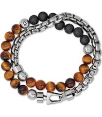 bulova men's tiger's eye & black lava bead bracelet in stainless steel