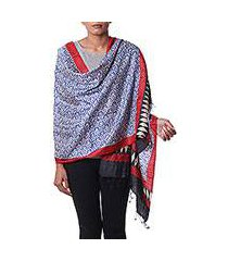 silk shawl, 'sapphire crests' (india)