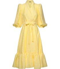 chinie, 864 gingham poly knälång klänning gul stine goya