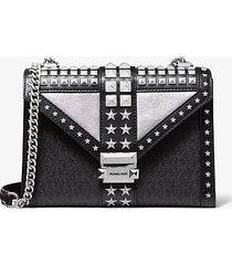 mk borsa a spalla whitney grande convertibile in pelle decorata con stelle e logo - nero/argento (argento) - michael kors