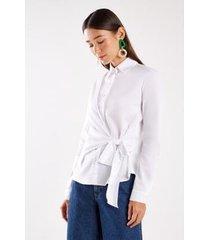 camisa sacada tricoline amarração feminina