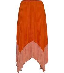 ali pleat mx two t pltd skt knälång kjol orange french connection