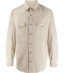 brunello cucinelli western suede shirt - neutrals