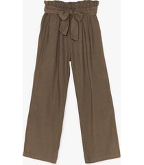 womens tie your side paperbag cropped pants - khaki